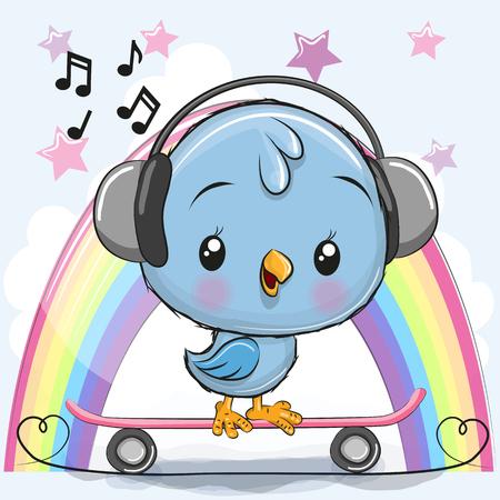 Cute Cartoon Blue Bird with skateboard on a rainbow background