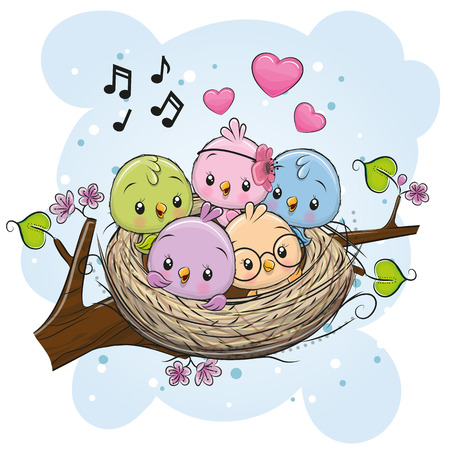 Cute Cartoon Birds in a nest on a branch Stock Illustratie