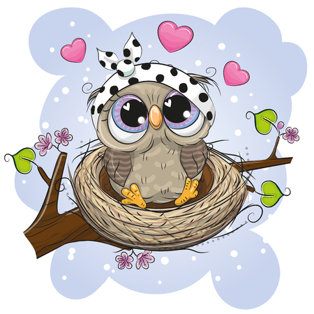 Cute Cartoon Owl in a nest on a branch