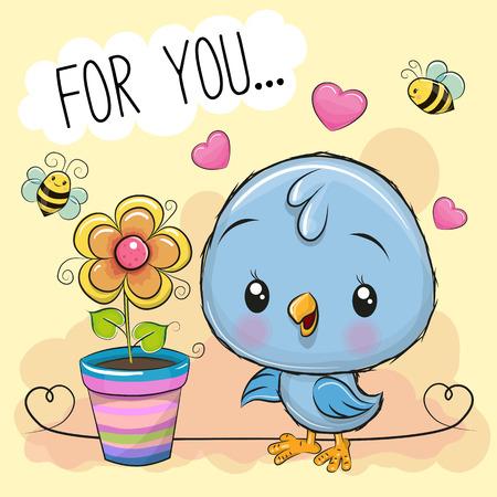 Greeting card cute cartoon Bird with flower on orange background