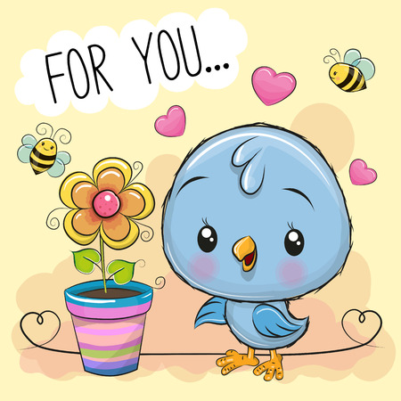 Greeting card cute cartoon Bird with flower on orange background