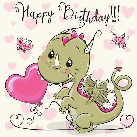 Greeting Birthday Card Cute Cartoon Dragon with a balloon