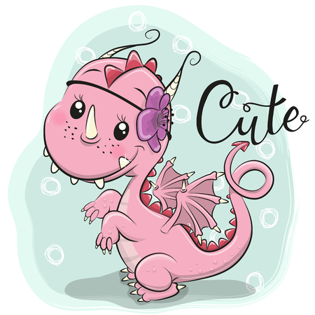 Cute Cartoon Pink Dragon isolated on a blue background