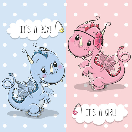 Baby Shower greeting card with Cute Dragon