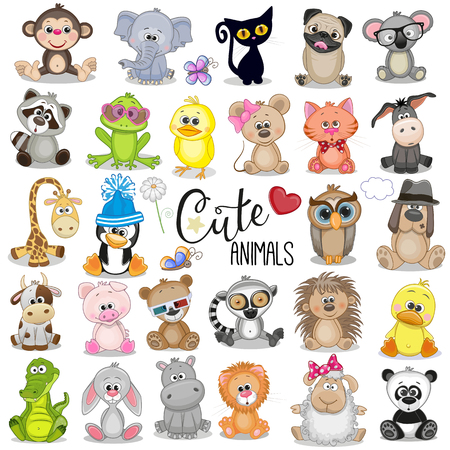 Set of Cute Cartoon Animals on a white background Çizim