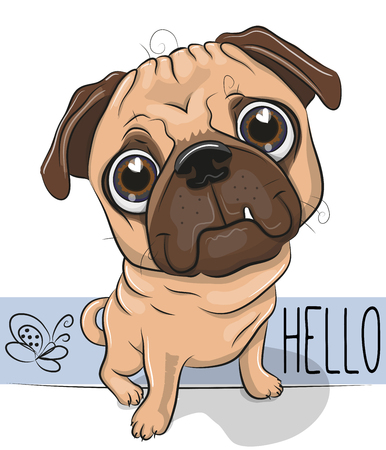 Cute Cartoon Pug Dog isolated on a white background Stock Illustratie