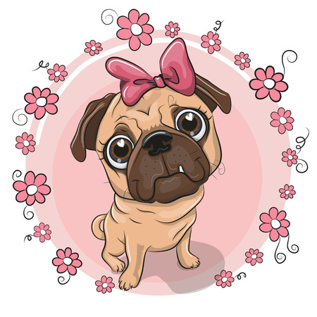 Greeting card puppy girl with flowers on a pink background Vectores