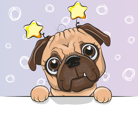 Greeting card cute Cartoon Pug Dog on a blue background Illustration