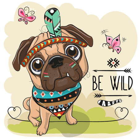 Cute Cartoon tribal Pug Dog and with a feather