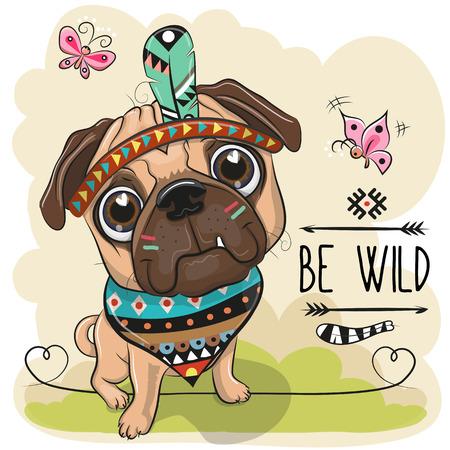 Cute Cartoon tribal Pug Dog and with a feather