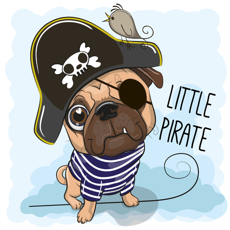 Cute cartoon Pug Dog in a pirate hat