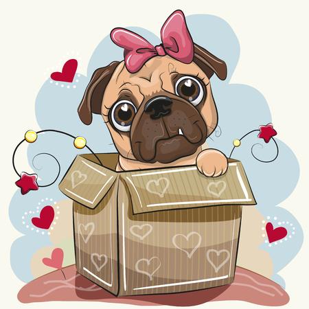 Birthday card with a Cute Cartoon Pug Dog girl in the box Ilustracja