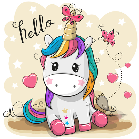 Cute Cartoon Unicorn with butterflies and a bird Stock Illustratie