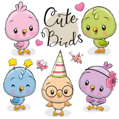Set of cute cartoon owls on a white background Foto de archivo - 114836778
