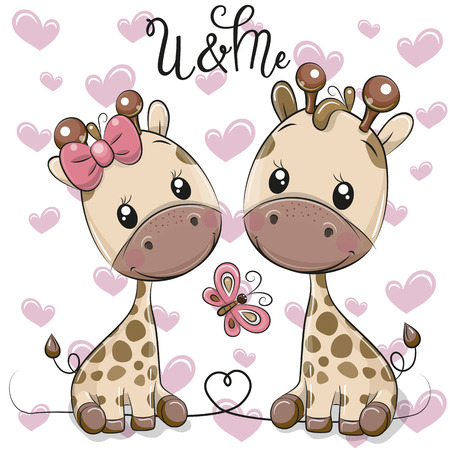 Two cute Cartoon Giraffes on a hearts background