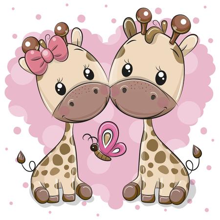 Two cute Cartoon Giraffes on a heart background