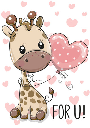 Cute Cartoon Giraffe with balloon on a hearts background