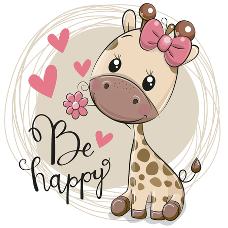 Greeting card Cute Cartoon Giraffe with flower Ilustração