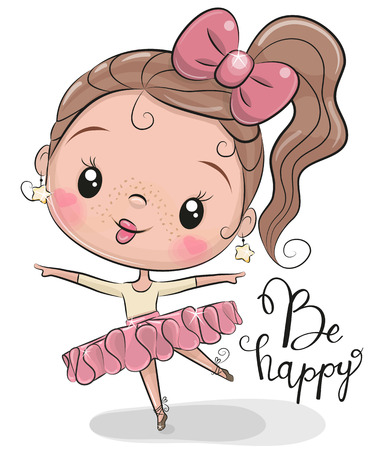 Cute Cartoon Ballerina on a white background Ilustracja