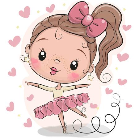 Schattige Cartoon Ballerina op een witte achtergrond