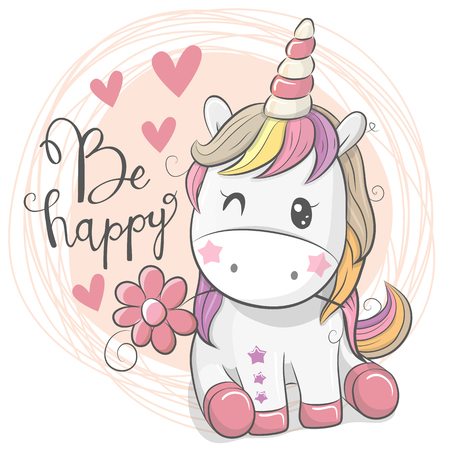 Greeting Card with Cute Cartoon Unicorn with flower