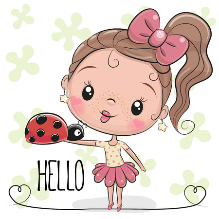 Cute Cartoon Girl with ladybug on a flowers background background
