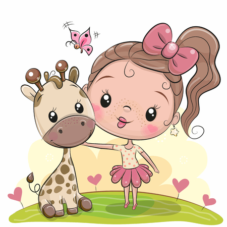 Cute Cartoon Girl with giraffe on the meadow