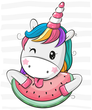 Cute Cartoon Unicorn with watermelon on striped background