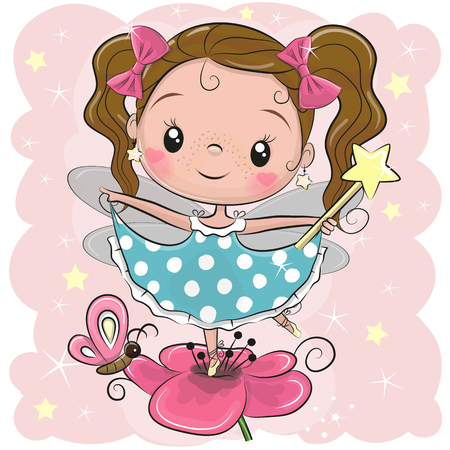 Cute Cartoon fairy girl on the flower Vector Illustratie