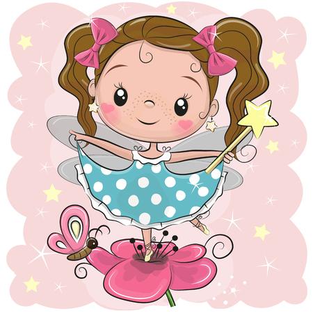 Linda chica de hadas de dibujos animados en la flor Ilustración de vector