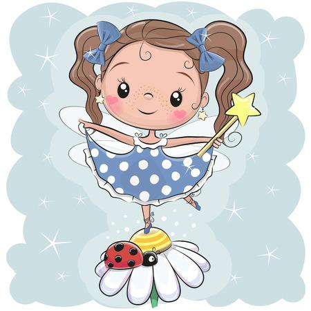Fille de fée de dessin animé mignon sur la fleur