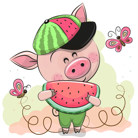 Cute Cartoon Pig in a cap with watermelon Stock Illustratie