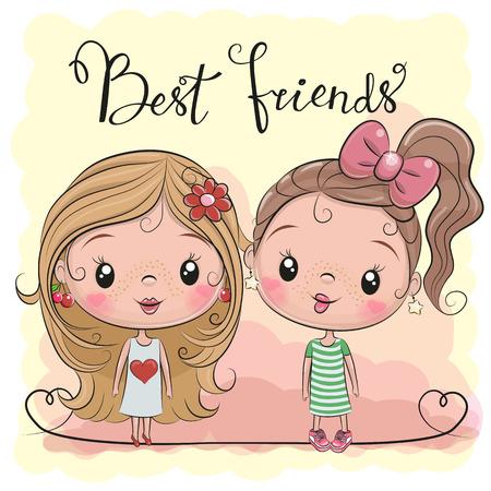 Twee vrienden Leuke cartoonmeisjes op een gele achtergrond Vector Illustratie