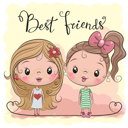 Two friends Cute cartoon girls on a yellow background 일러스트