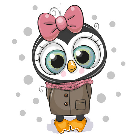Cute Cartoon Penguin girl on a white background Imagens - 112226771