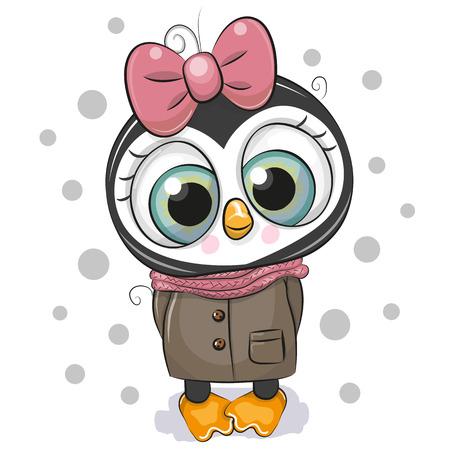 Nettes Cartoon-Pinguin-Mädchen auf weißem Hintergrund