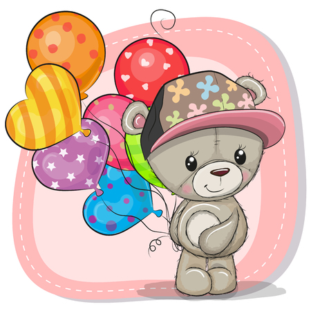 Greeting card Cute Cartoon Teddy Bear with balloons