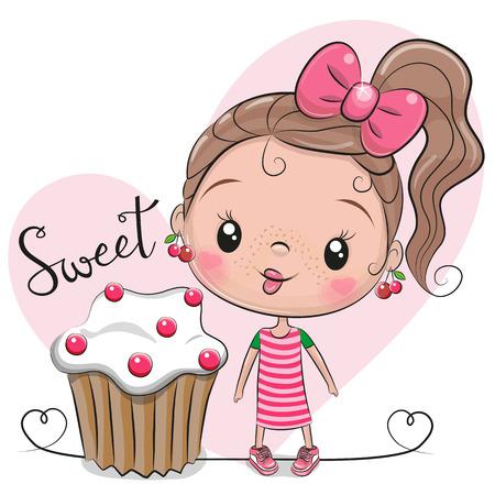 Tarjeta de felicitación linda chica de dibujos animados con pastel