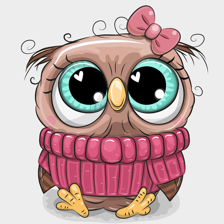 Cute cartoon owl in pink sweater with a bow
