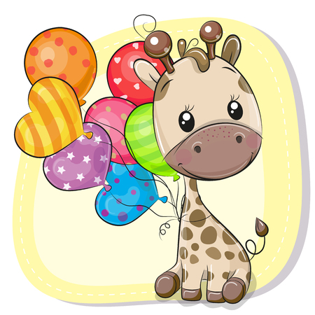 Greeting card Cute Cartoon Giraffe with balloon Zdjęcie Seryjne - 106144382