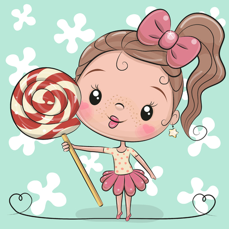 Cute Cartoon Girl with Lollipop on a blue background Illustration