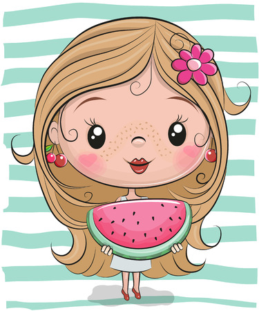 Cute Cartoon Girl with watermelon on striped background