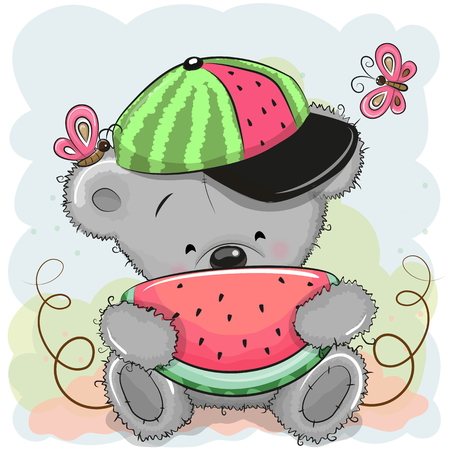 Cute Cartoon Bear in a cap with watermelon Stock Illustratie