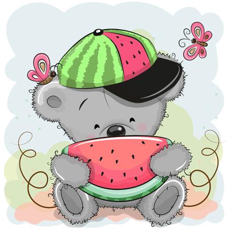 Słodki animowany miś w czapce z arbuzem