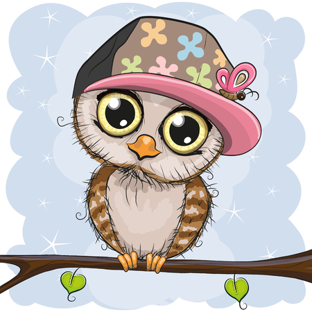 Cute cartoon owl in a cap is sitting on a branch