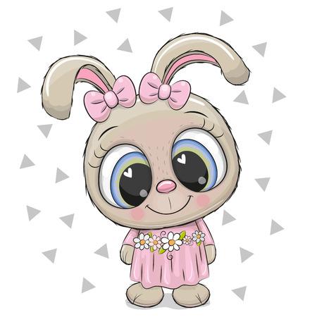 Cute cartoon Rabbit girl on a white background