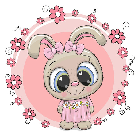 Greeting card Cute cartoon Rabbit with flowers