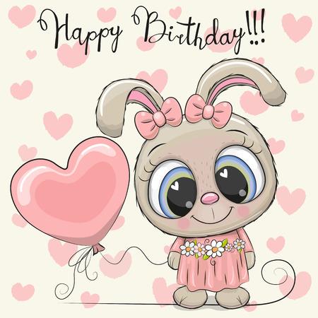 Greeting Birthday Card Cute Cartoon Rabbit Girl with a balloon
