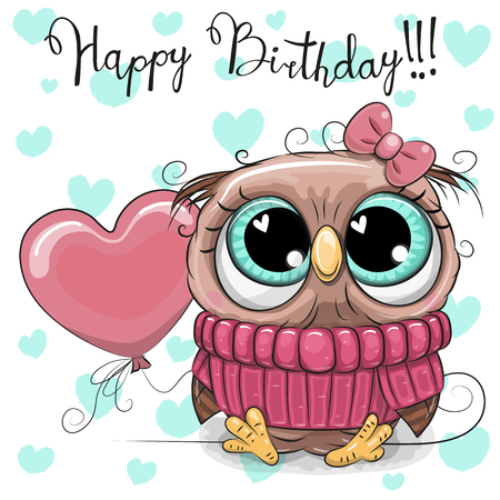 Greeting Birthday Card Cute Cartoon Owl Girl with a balloon