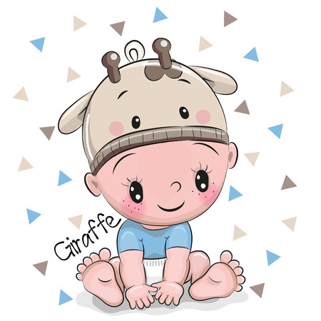 Cute Cartoon Baby boy in a giraffe hat on a white background Çizim